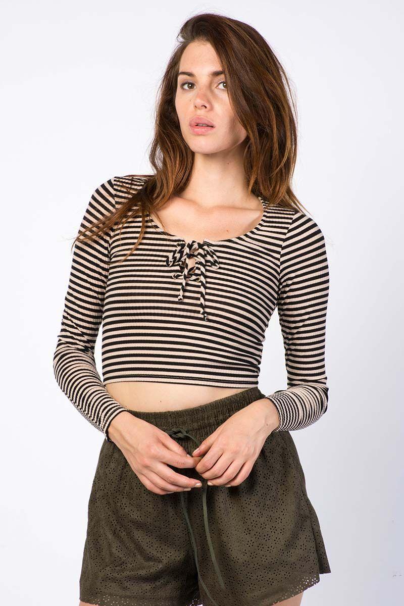 Striped Tie Crop Top