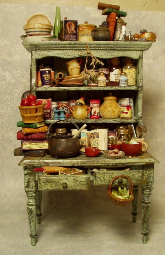 Doll House Witch's HUTCH - (well stocked with potion in the works) #witchcottage This miniature hutch has been painted and distressed to fit in nicely in your witchs cottage kitchen where she prepares her spells and #witchcottage