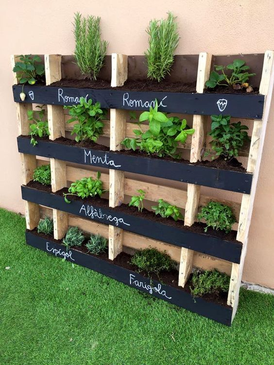 For The Best Ideas In Small Space Landscaping And Water Features Visit Us On Pinterest Containerwat Vertical Pallet Garden Palette Garden Vertical Herb Garden