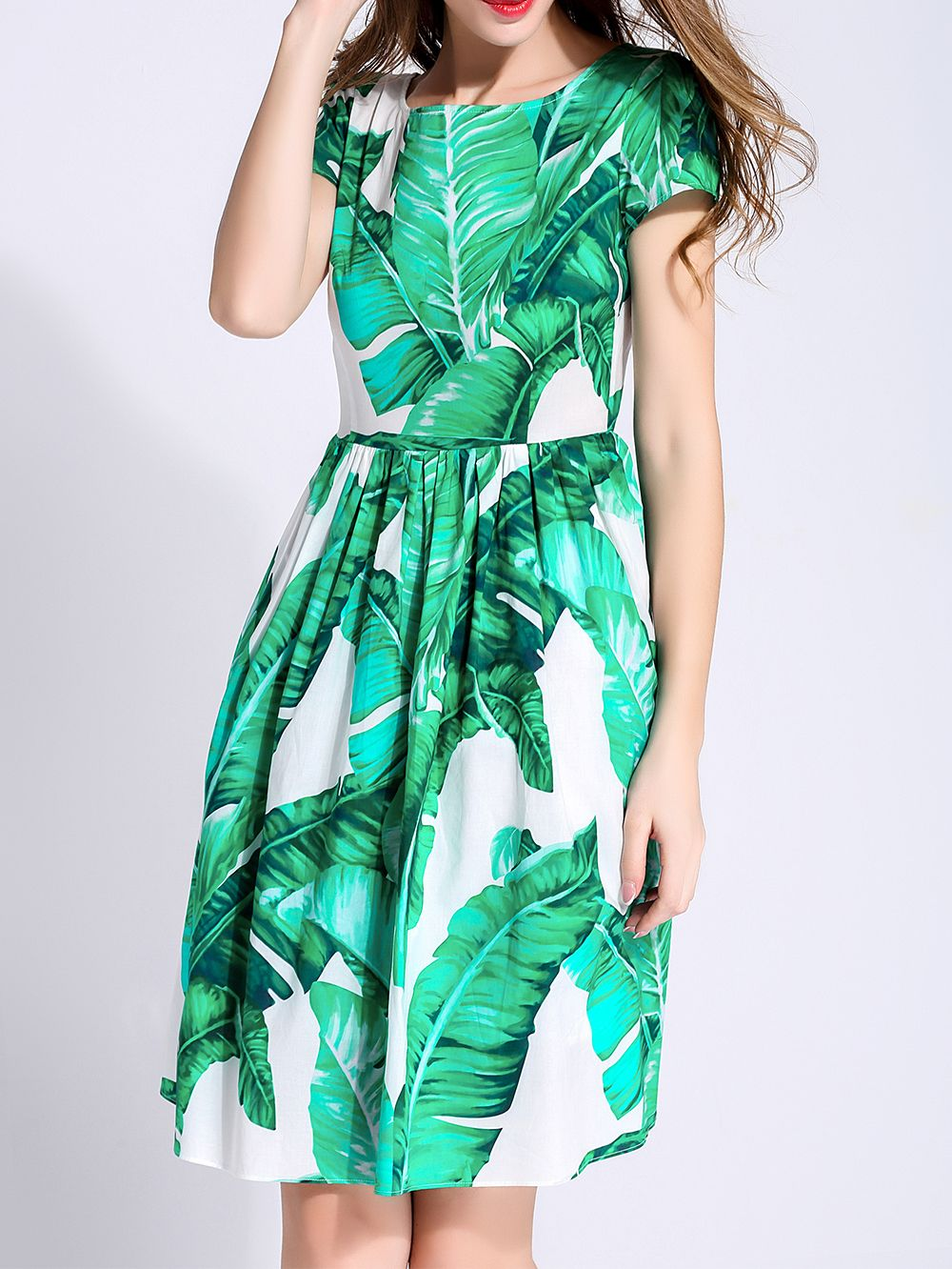 Shop Green Crew Neck Print A-Line Dress online. SheIn offers Green Crew Neck Print A-Line Dress & more to fit your fashionable needs.