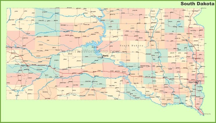 Road map of South Dakota with cities Maps Pinterest South