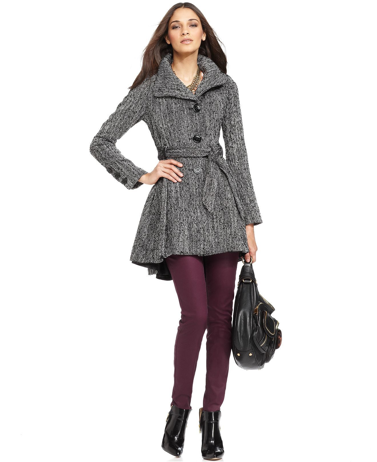 Steve Madden Coat, Funnel-Neck Belted Tweed Flared ...