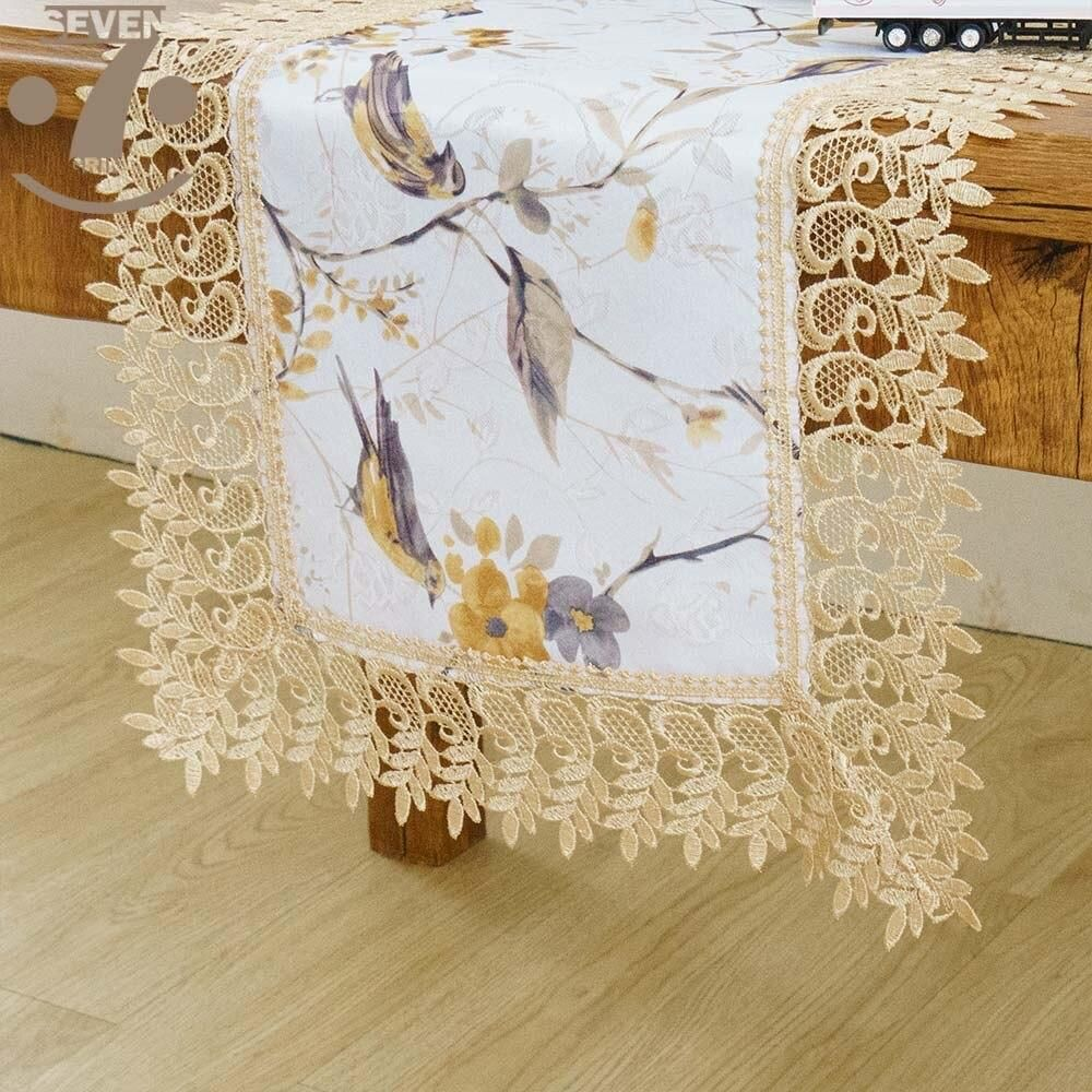 Free Shipping Dining Banquet Embroidered Border Decorative Birds Printed Jacquard In 2020 Bird Prints Table Runners Table Runner Pattern