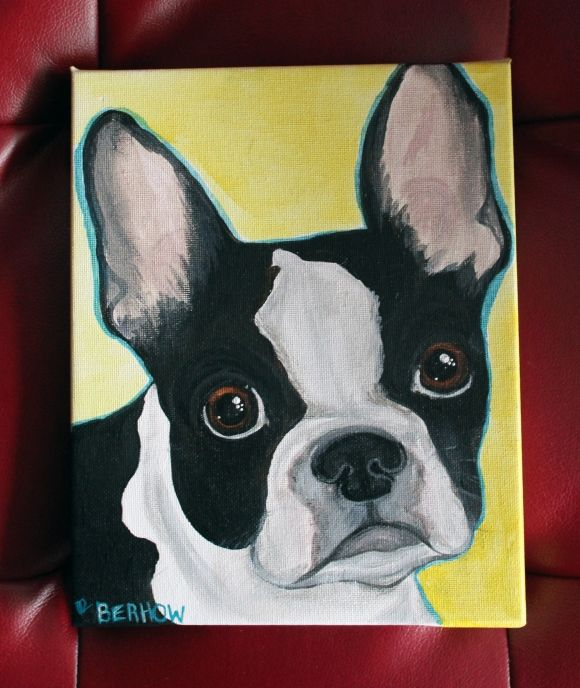 Midwest Pet Paintings Dog Canvas Painting Boston Terrier Painting Dog Canvas