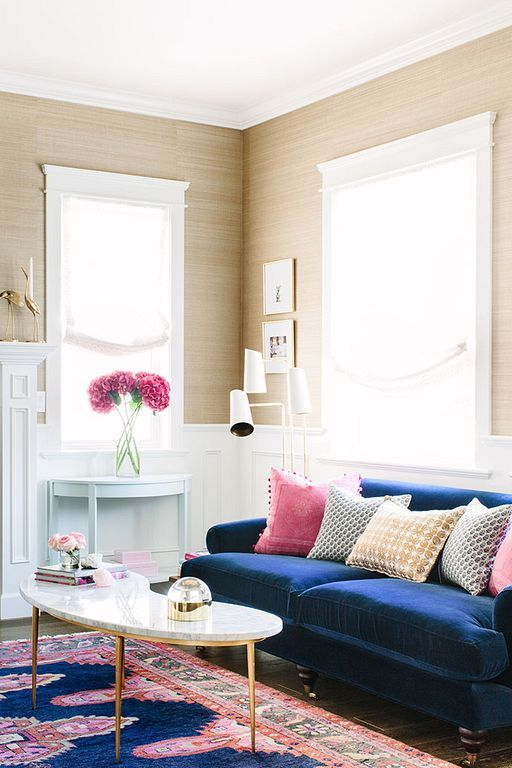 Love This Room Navy Blue Velvet Sofa Vibrant Rug Gold And Marble Coffee Table High Ceilings Living Room Colors Blue Living Room Blue Couch Living Room
