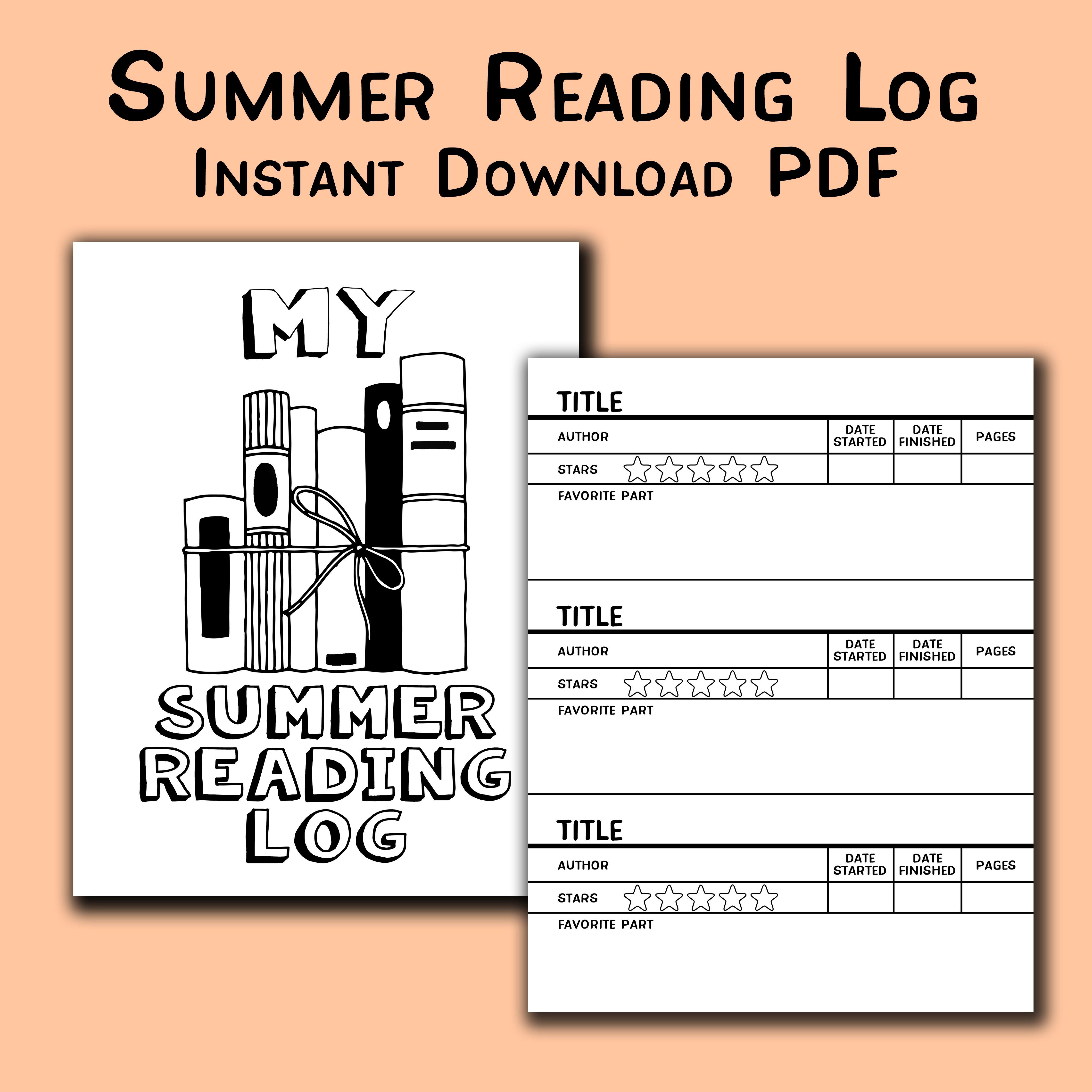 Summer Reading Log Printable Instant Download PDF