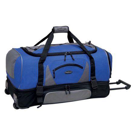 Travelers Club 36 2 Section Drop Bottom Rolling Duffel Navy W Black Walmart Com Rolling Duffle Bag Duffel Bag Travel Bag Sale