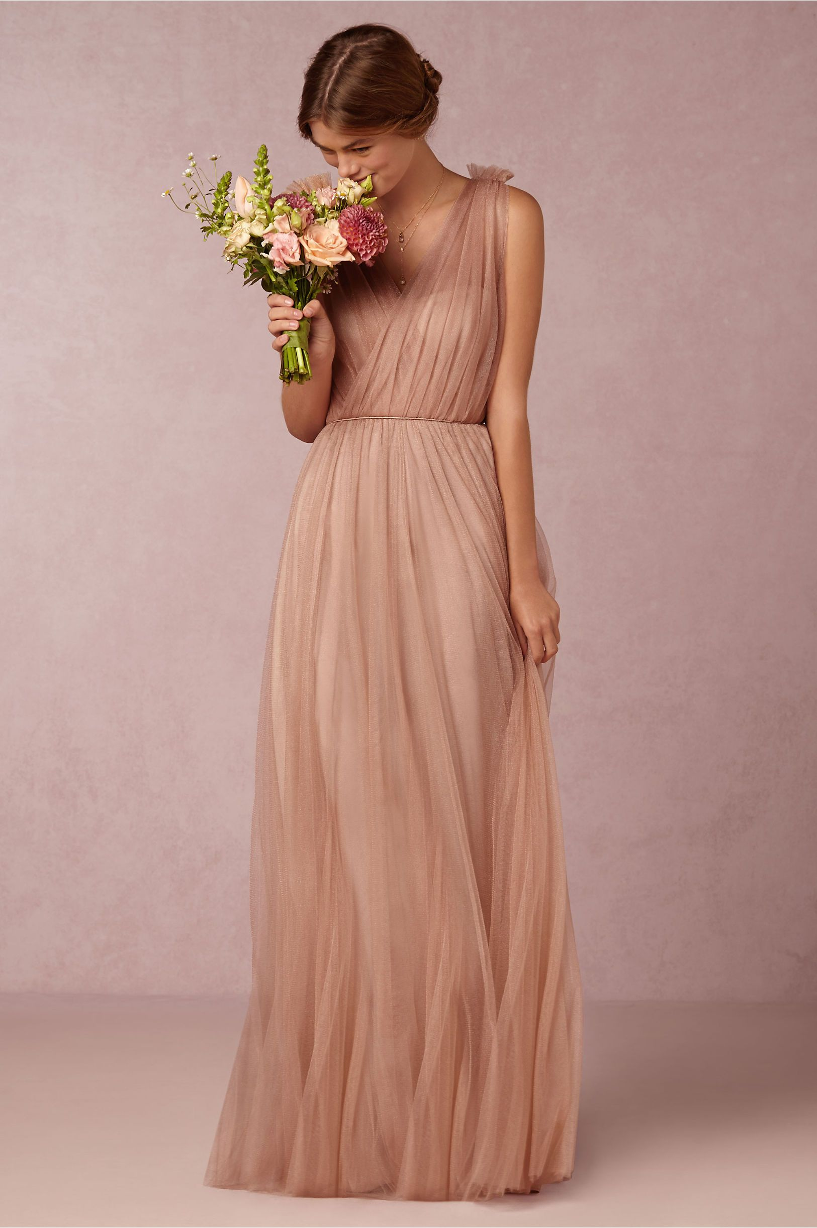 Long pink tulle bridesmaid dress emmy dress in feather from bhldn