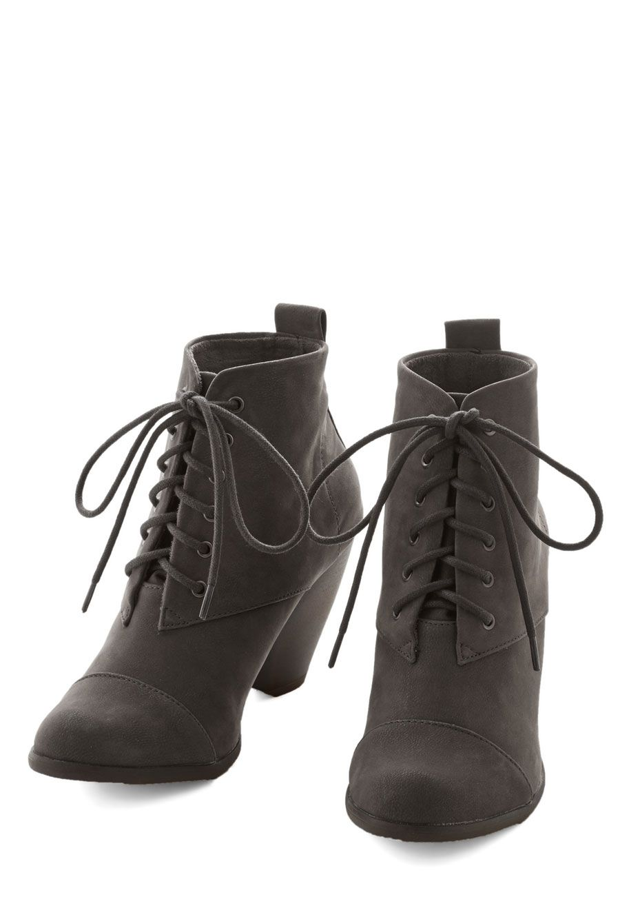 2d30f85130e6 You express excitement with every step you take in these grey lace-up  booties by Blowfish.  grey  modcloth