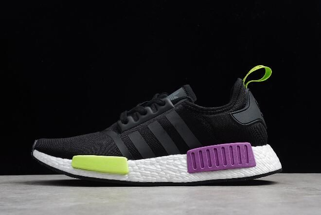 Adidas Originals Nmd R1 Black Purple Volt White D99627 In 2019 New