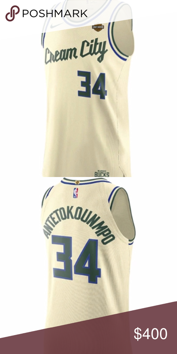 Nike Giannis Antetokounmpo Cream City Auth Jersey Nwt In 2020 Nike Shirts Gianni Jersey
