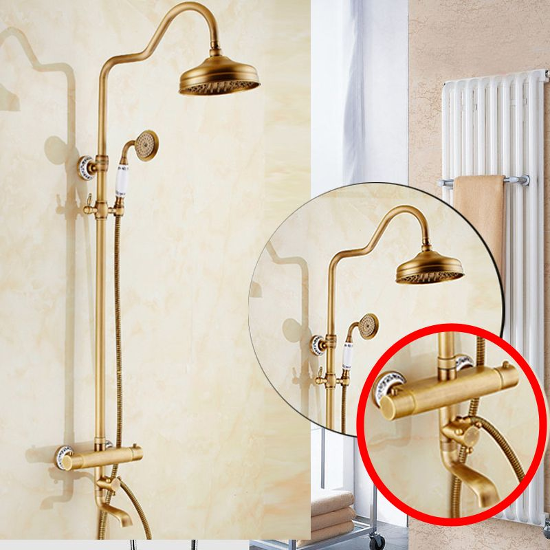 Brass Antique Thermostatic Mixer Valve Shower Set Faucet Wall