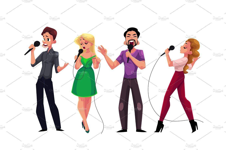 Men And Women Singing Karaoke Holding Microphones Competition Party Celebration Woman Singing Karaoke Cartoons Vector