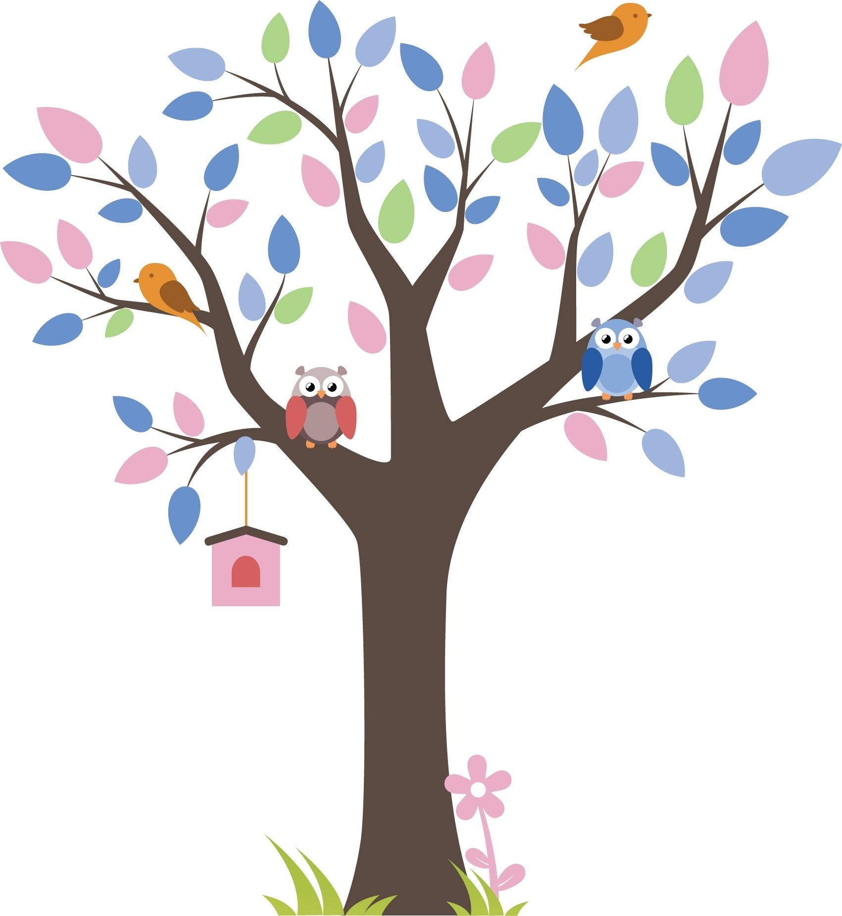 This bright and bold wall sticker features lots of gorgeous pastel colours and cute cartoon owls. The smaller brown birds and pink birdhouse add some ...