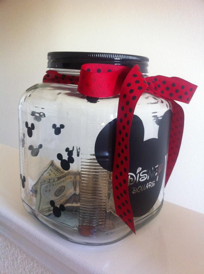 Got This Idea Of Course Off Pinterest I Also Got All Of The Fonts Off Of Fontspace Com The Jar Came From Ho Disney Diy Crafts Disney Money Jar Piggy Bank Diy