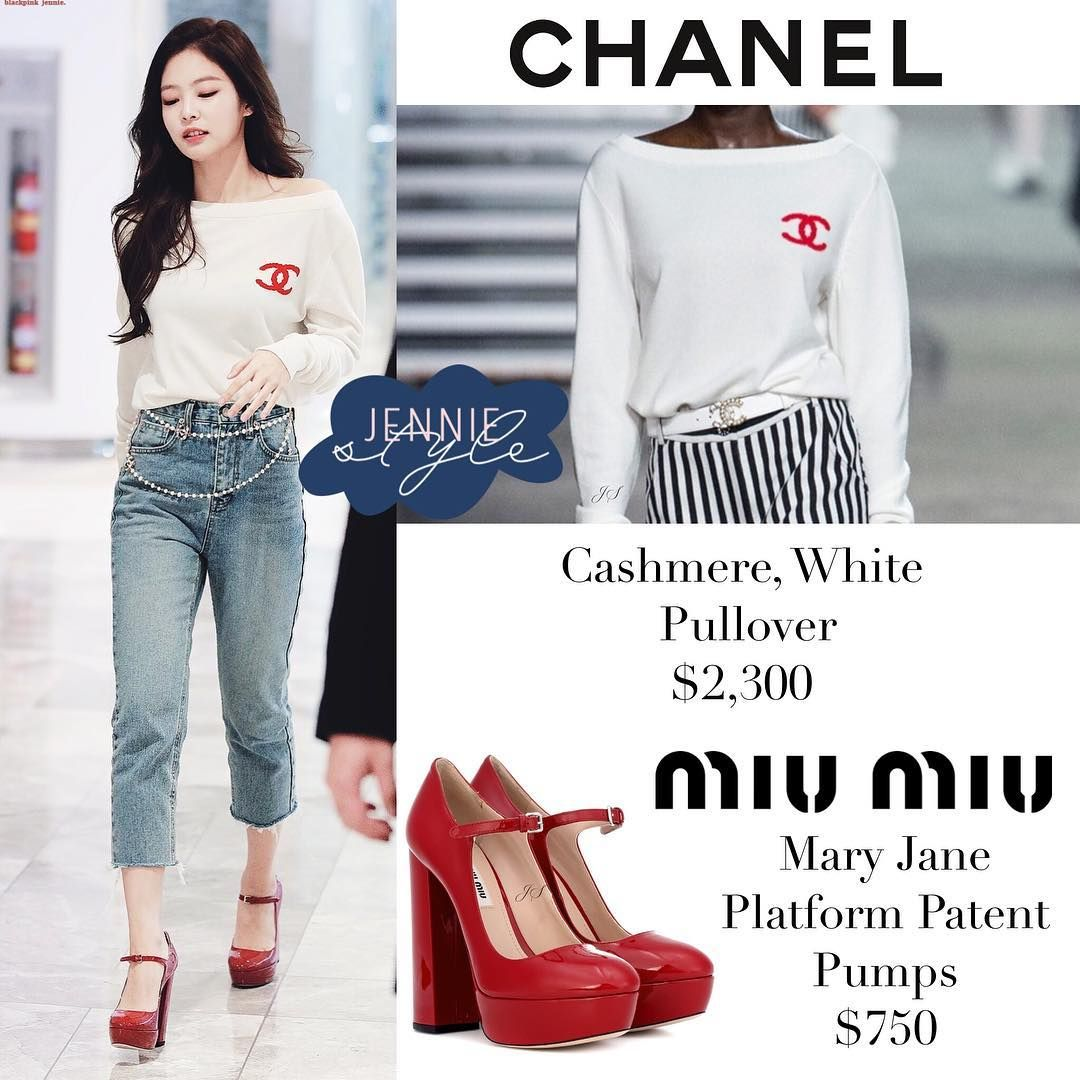 daac125d893 Jennie SOLO Fansign 181117 . #chanel Cashmere, White Pullover $2,300, Belt  is from Chanel but not available online Jeans from #oakfort not…