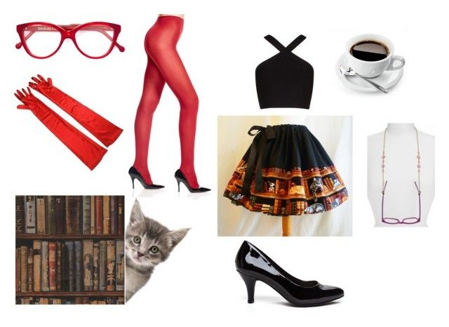 """""""Scarlet Librarian"""" by hai-i-love-oreos on Polyvore featuring Cutler and Gross, Andrew Martin, BCBGMAXAZRIA, Wolford and L. Erickson"""