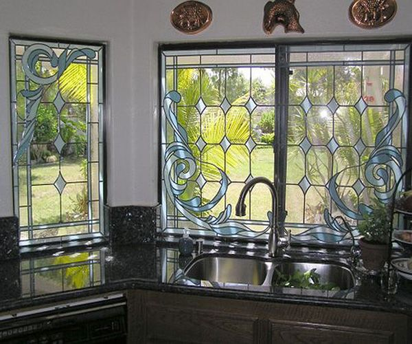 Image Detail For  Stained Glass Overlay Kitchen Window Privacy Panel