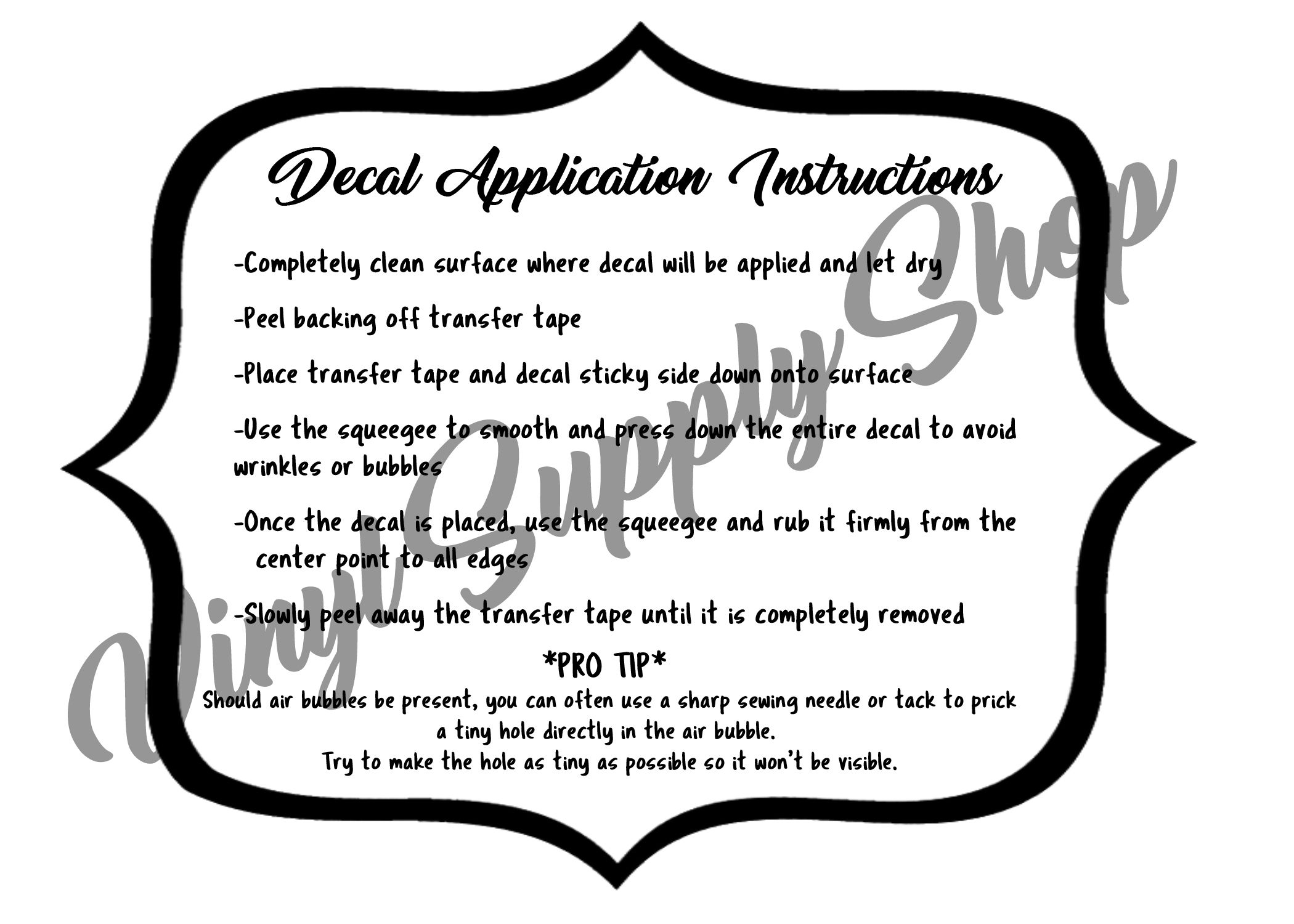 picture regarding Decal Application Instructions Printable titled Pin upon Vinyl Place of work Printables