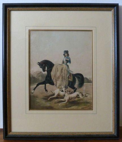 Antique-Handcolored-Print-of-Woman-on-Horseback-Custom-Matted-Framed