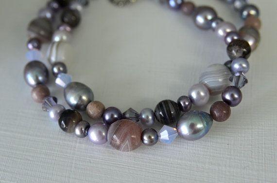 Purple Gemstone Necklace Agate Sardonyx by northatlanticart, $49.00
