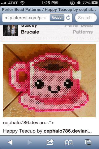 Aww cute tea | Emriyana | Perler Beads, DIY perler beads
