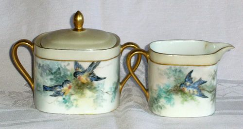 Vintage T & V Limoges France signed bluebirds gold trimmed cream & sugar set