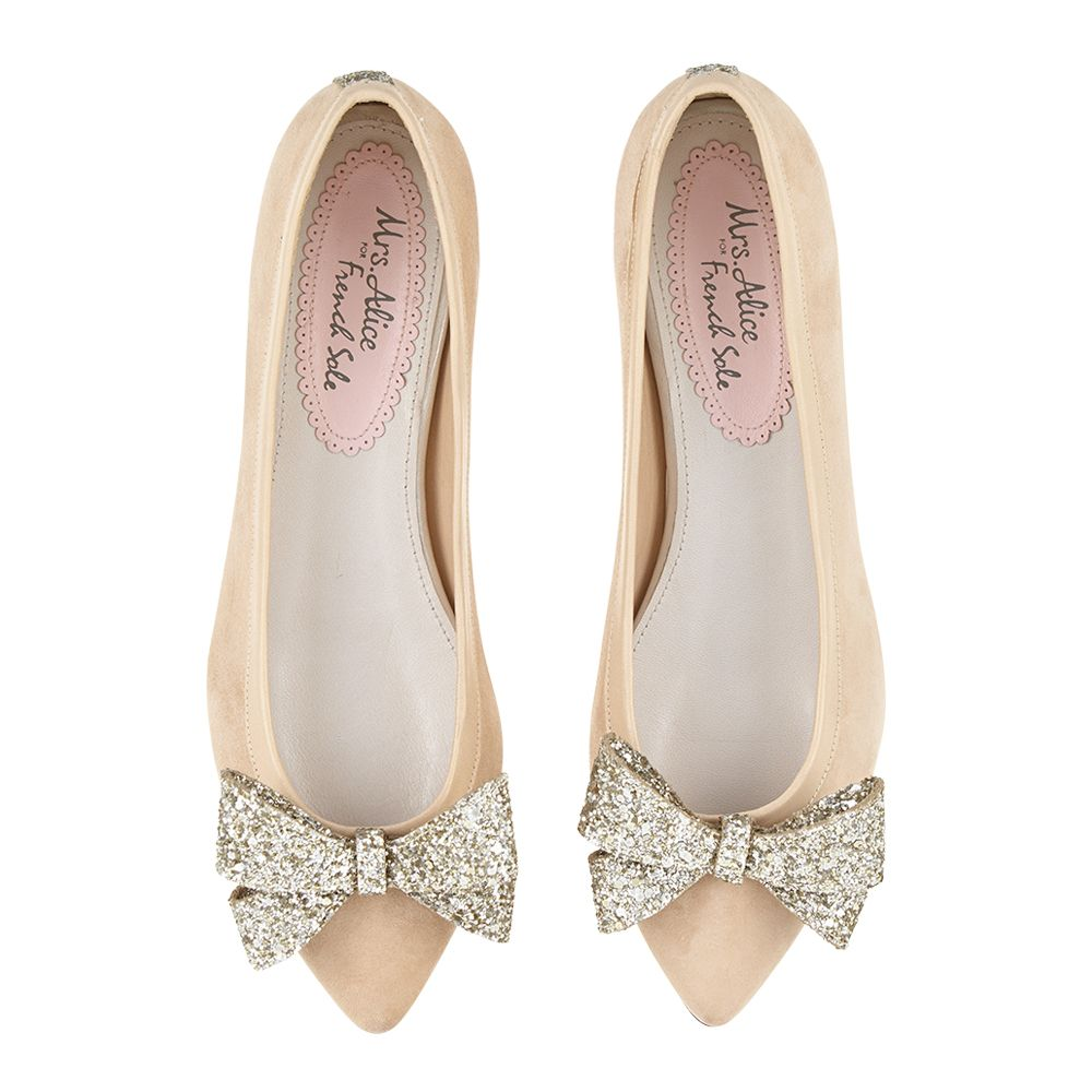 e4783fbcc85 Suede with Glitter Bow Knightsbridge in Beige. Super stylish with a perfect  point and an oversized bow