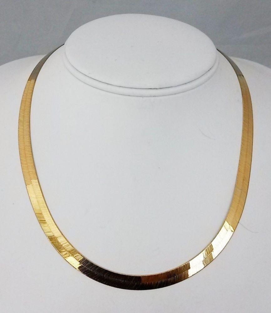 18 karat gold herringbone necklace