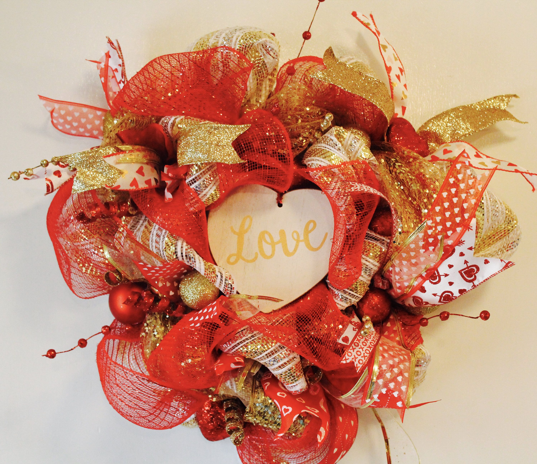 I Love My Dog Deco Mesh Heart Shaped Lighted Christmas Wreath
