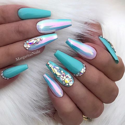 Turquoise Chrome Ombré Coffin Nails Summer Nail Art Design Spring Easter