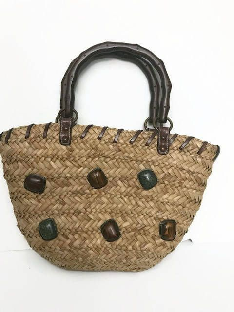 418049c5d189 Woven Natural Straw Hand Bag Handles are made of wood Brand