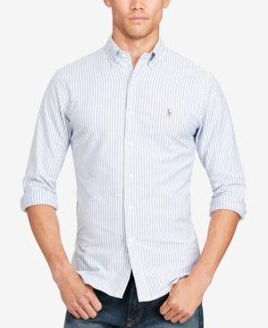 bd86b651fc Polo Ralph Lauren Men s Slim-Fit Striped Stretch Oxford Shirt - Blue white  XXL