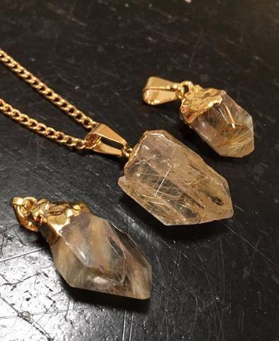 Golden Rutilated Quartz Necklace New Moon Beginnings Rutilated Quartz Pendant Raw Quartz Necklace Rutilated Quartz Crystal
