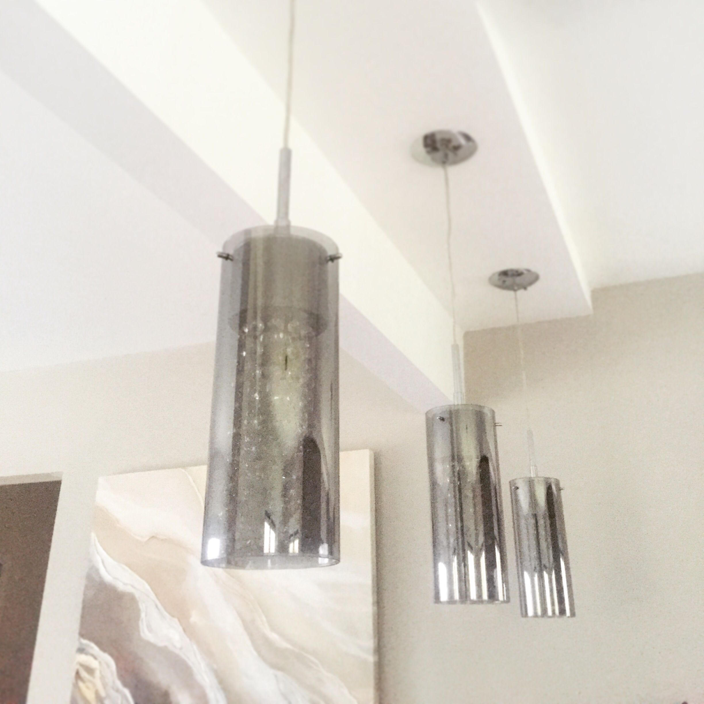 canarm sloan pendant lights in chrome above our kitchen island