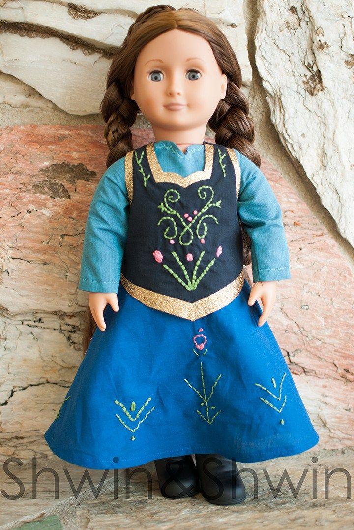 Anna Inspired Doll Dress Pattern - Shwin and Shwin #dolldresspatterns