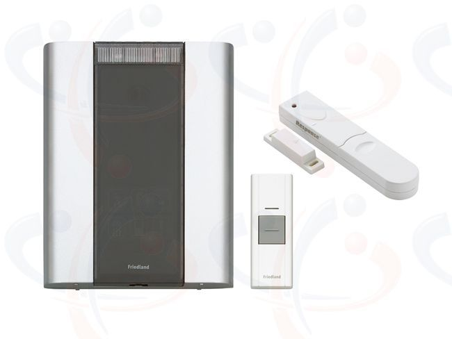 Friedland Libra+ 200m Wireless Door Bell Chime Magnetic Security Kit   The Friedland Libra+ Professional 200m Wireless Door Bell Chime Magnetic Security Kit (D914MSK) is portable for use throughout the home or can be wall mounted. The wireless Door Chime Unit operates up to 200 metres away from the Doorbell Push on the 868Mhz frequency. By using the SLM Magnetic contact, the Doorbell becomes a Security alarm with the intruder alert facility.