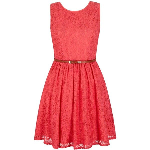 Yumi Lace Day Dress ($79) ❤ liked on Polyvore featuring dresses, pink,