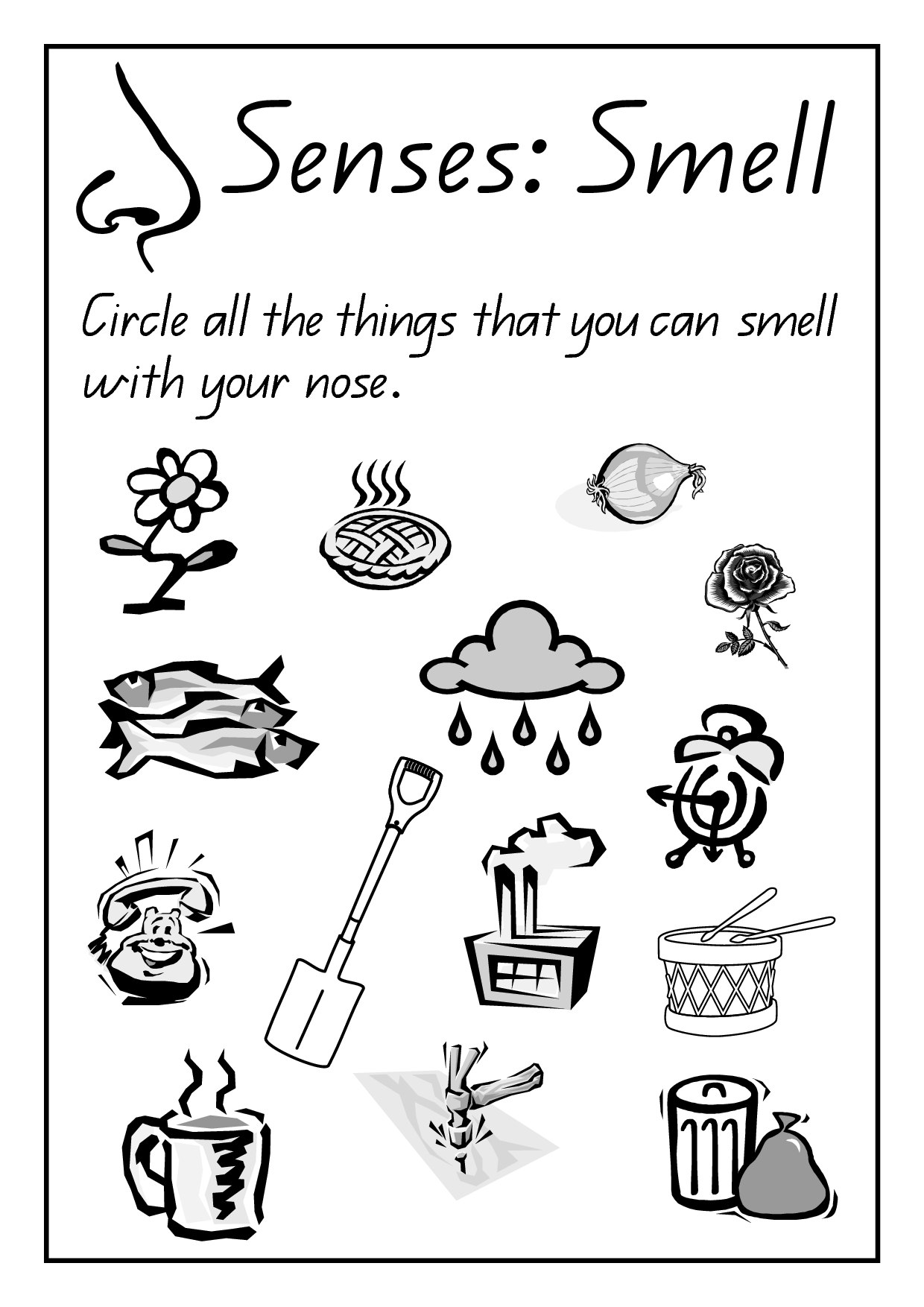 Fresh Five Senses Coloring Pages For Preschool