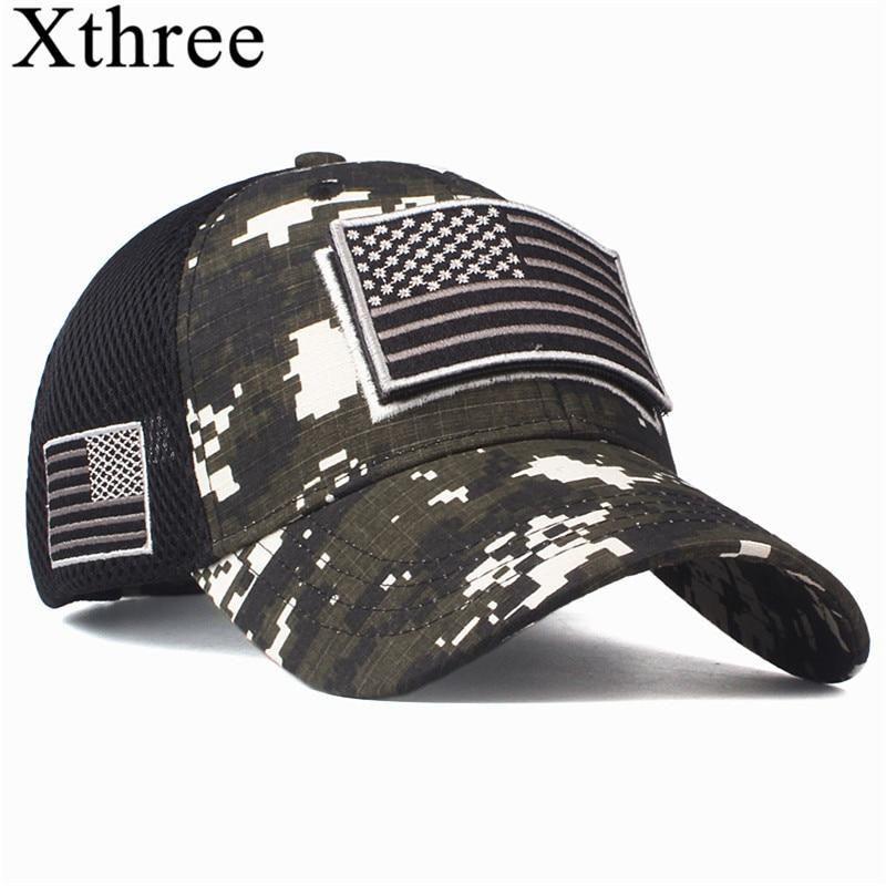Xthree High Quality Usa Flag Camouflage Baseball Cap For Men Snapback Hat Army American Flag Baseball Cap Bone In 2020 Womens Baseball Cap Mens Caps Summer Hats Beach