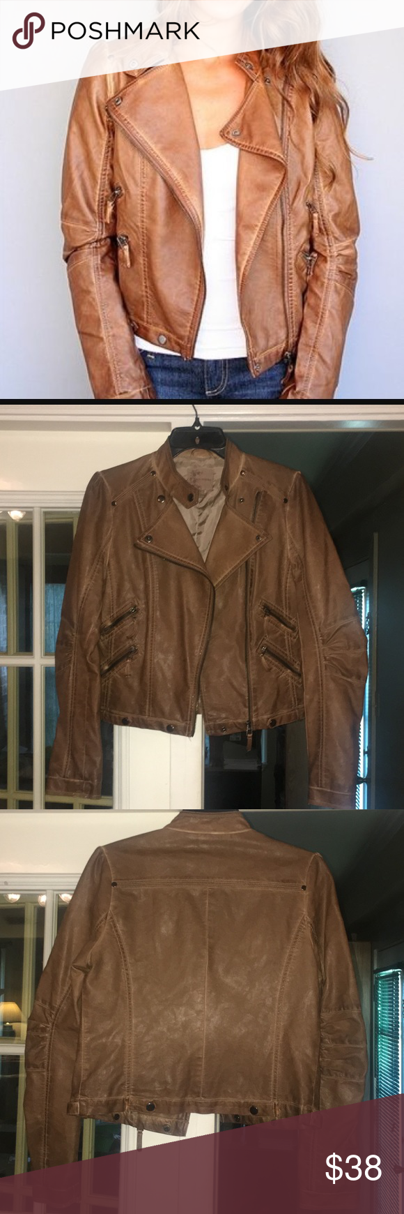 Blu Pepper Tan Faux Leather Jacket Perfect for the Fall