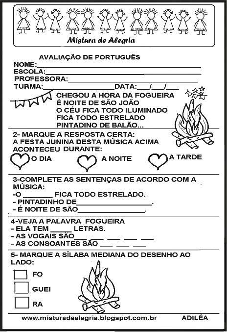 Avaliacao De Portugues Festa Junina Imprimir Colorir
