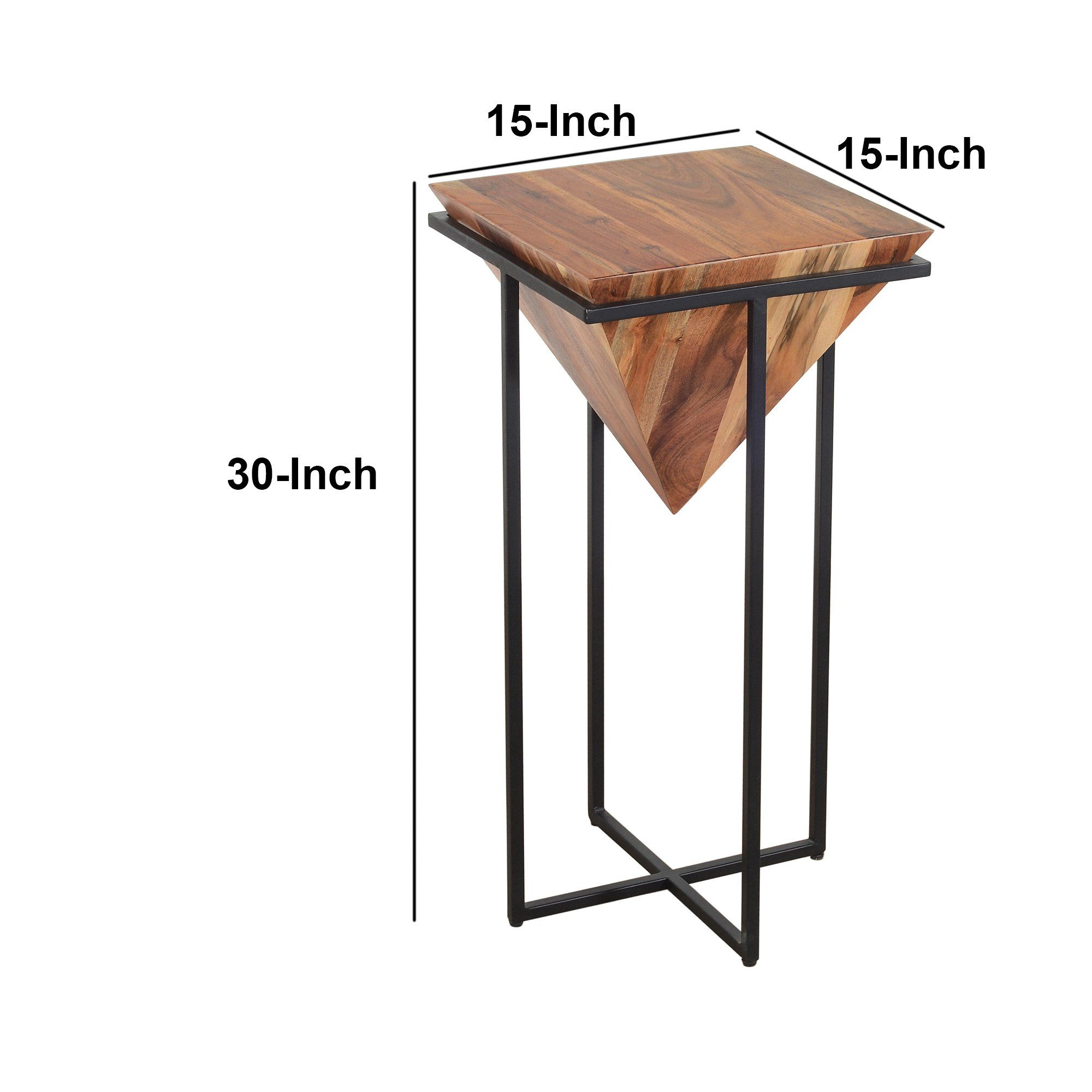 30 Inch Pyramid Shape Wooden Side Table With Cross Metal Base Brown A In 2021 Wooden Side Table Side Table End Tables 30 inch end table