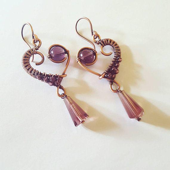 Copper wire heart earrings, purple heart jewelry, wire wrapped ...