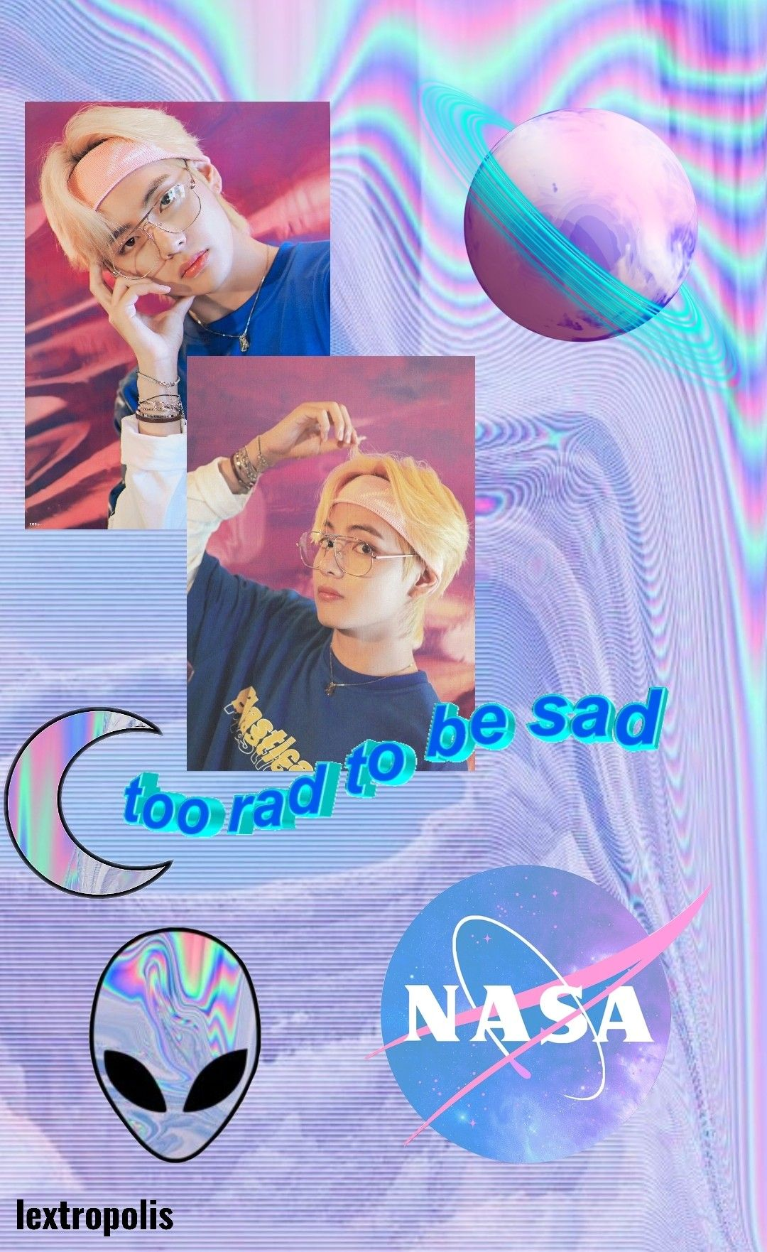 Taehyung 90s Style Holographic Aesthetic Wallpaper
