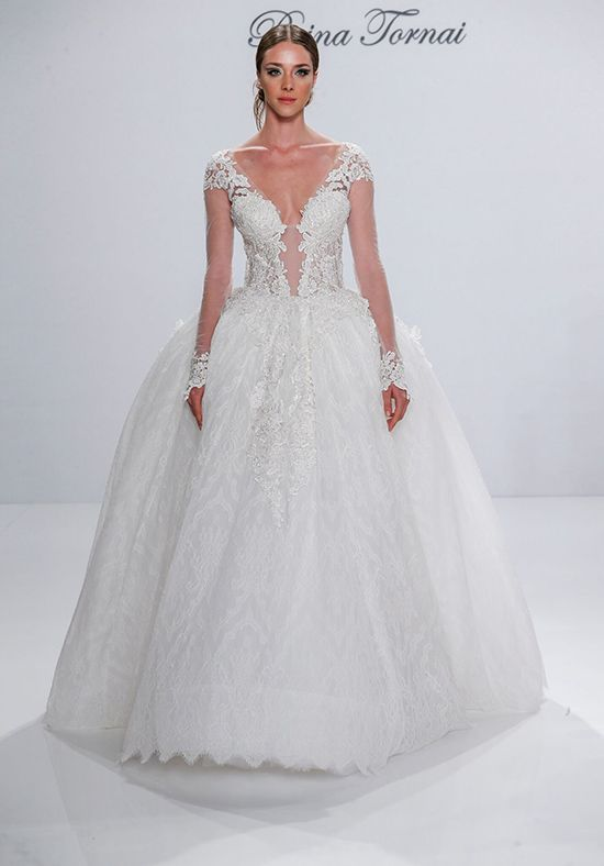 Long-Sleeved Tulle and Beaded Lace Ball Gown | Pnina Tornai for ...