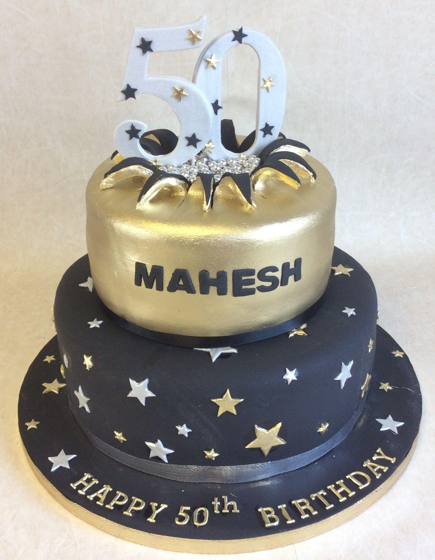 2 Tier Black Gold Birthday Cake