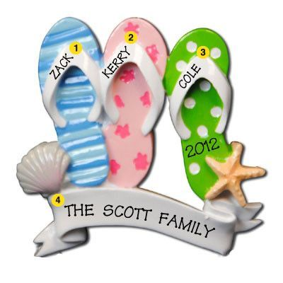 Flip Flop Family Of 3 Personalized Christmas Ornament Christmas