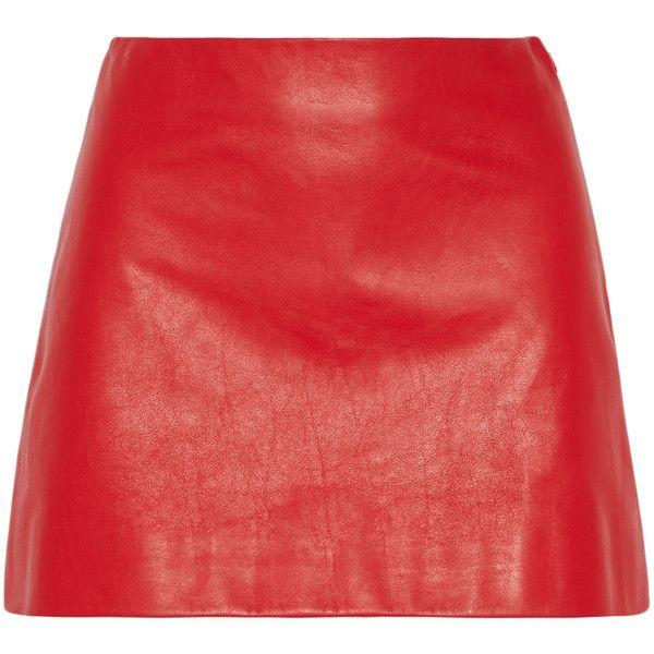 Miu Miu Leather mini skirt found on Polyvore