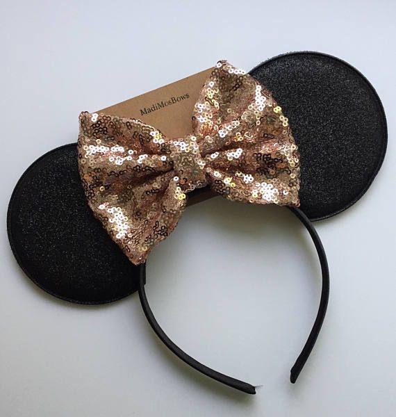 NEW Minnie Mouse Ears Headband Shiny Black Sequin Rose Gold Bow Birthday Party